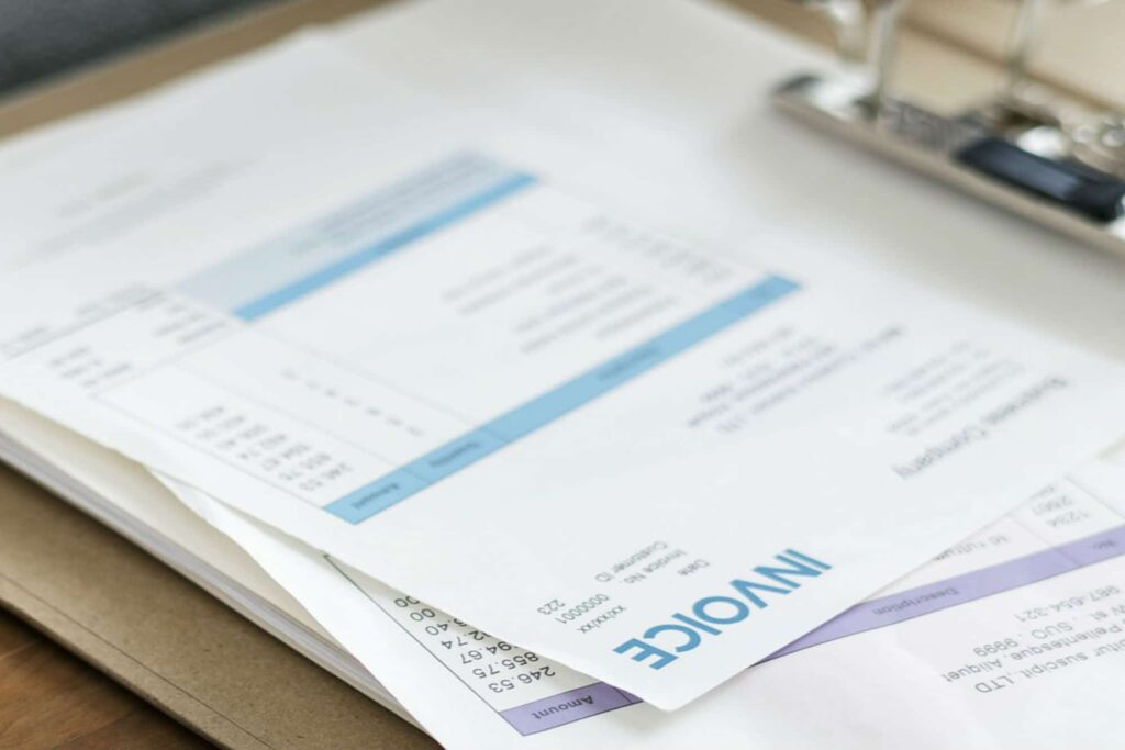 Loft conversion invoice in a folder